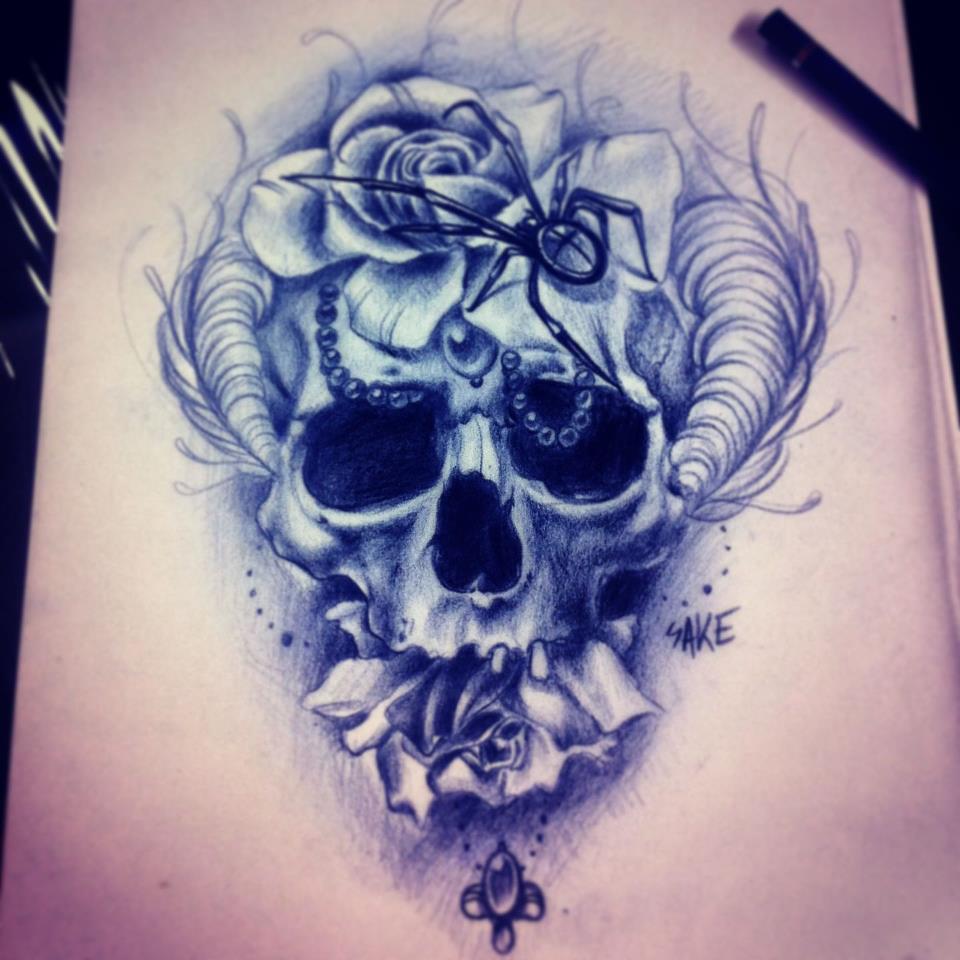 Sake tattoo artist the vandallist for Skull and flowers tattoos