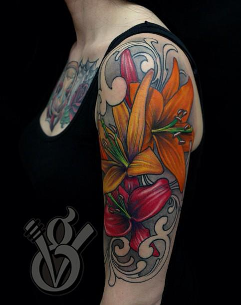 lilies arm sleeve tattoo girl woman female flower color tattoos jon von glahn