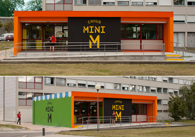 Mini m grocery shop toulouse university france the for Store building design