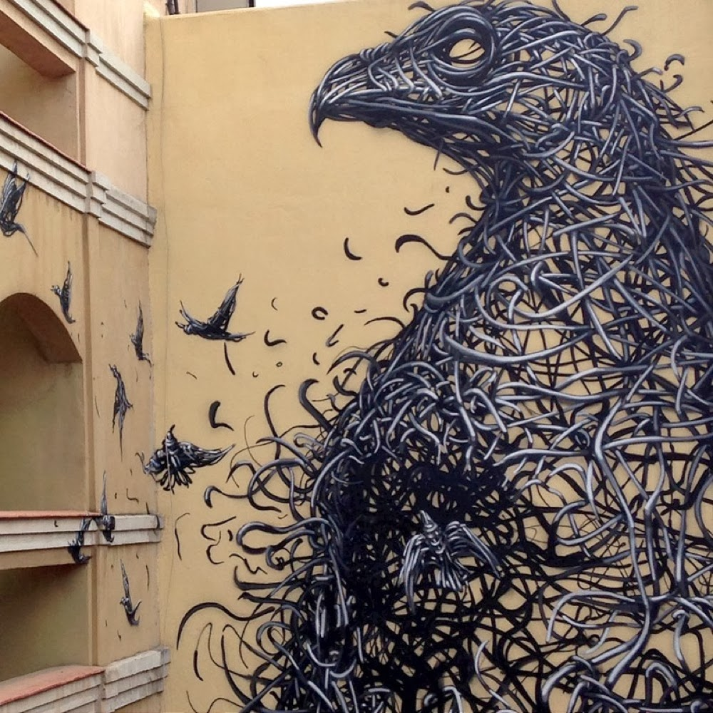 murals composed of frenetic linework by daleast the